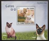 Poštovní známka Svatý Tomáš 2008 Kočky DELUXE Mi# 3693 Block