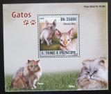 Poštovní známka Svatý Tomáš 2008 Kočky DELUXE Mi# 3695 Block