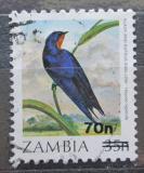 Poštovní známka Zambie 1989 Vlaštovka rezavobřichá přetisk Mi# 482