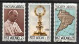 Poštovní známky Vatikán 1968 Světový eucharistický kongres v Bogotě Mi# 538-40