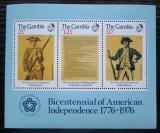 Poštovní známky Gambie 1976 Americká revoluce, 200. výročí Mi# Block 1