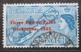 Poštovní známka Bermudy 1953 Mapa ostrova přetisk Mi# 150