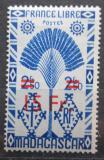 Poštovní známka Madagaskar 1944 Strom cestovatelů přetisk Mi# Mi# 382
