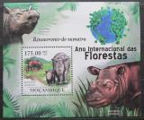 Poštovní známka Mosambik 2011 Nosorožec sumaterský Mi# Block 421 Kat 10€