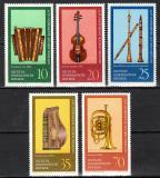 Poštovní známky DDR 1977 Hudební nástroje Mi# 2224-28