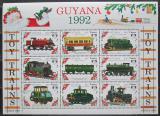 Poštovní známky Guyana 1992 Modely lokomotiv a vagónů Mi# 3907-15