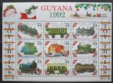 Poštovní známky Guyana 1992 Modely lokomotiv a vagónů Mi# 3916-24
