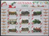 Poštovní známky Guyana 1992 Modely lokomotiv a vagónů Mi# 3934-42