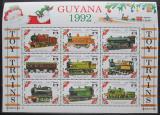 Poštovní známky Guyana 1992 Modely lokomotiv a vagónů Mi# 3943-51
