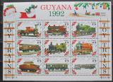 Poštovní známky Guyana 1992 Modely lokomotiv a vagónů Mi# 3952-60