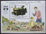Poštovní známka Guyana 1992 Modely lokomotiv a vagónů Mi# Block 210 Kat 9.50€