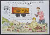 Poštovní známka Guyana 1992 Modely lokomotiv a vagónů Mi# Block 213 Kat 9.50€