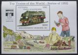 Poštovní známka Guyana 1992 Modely lokomotiv a vagónů Mi# Block 214 Kat 9.50€