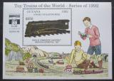 Poštovní známka Guyana 1992 Modely lokomotiv a vagónů Mi# Block 215 Kat 9.50€