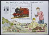Poštovní známka Guyana 1992 Modely lokomotiv a vagónů Mi# Block 216 Kat 9.50€