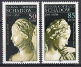 Poštovní známky DDR 1989 Sochy, Johann Gottfried Schadow Mi# 3250-51