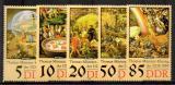 Poštovní známky DDR 1989 Umění, Werner Tübke Mi# 3269-73