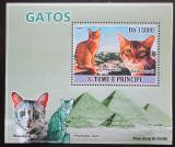 Poštovní známka Svatý Tomáš 2009 Domácí kočky DELUXE Mi# 3809 Block