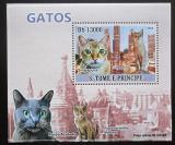 Poštovní známka Svatý Tomáš 2009 Domácí kočky DELUXE Mi# 3810 Block