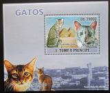 Poštovní známka Svatý Tomáš 2009 Domácí kočky DELUXE Mi# 3811 Block