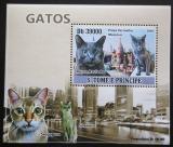 Poštovní známka Svatý Tomáš 2009 Domácí kočky DELUXE Mi# 3812 Block
