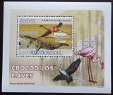 Poštovní známka Guinea-Bissau 2008 Krokodýli a ptáci DELUXE Mi# 3795 Block