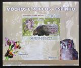 Poštovní známka Guinea-Bissau 2008 Sovy a orchideje DELUXE Mi# 3802 B Block