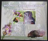Poštovní známka Guinea-Bissau 2008 Sovy a orchideje DELUXE Mi# 3803 B Block