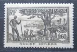 Poštovní známka Pobřeží Slonoviny 1940 Loď v zálivu a akát Mi# 143