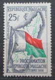 Poštovní známka Madagaskar 1959 Vlajka a mapa Mi# 443