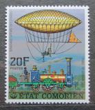 Poštovní známka Komory 1977 Parní lokomotiva a vzducholoď Mi# 339 A