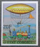 Poštovní známka Komory 1977 Parní lokomotiva a vzducholoď neperf. Mi# 339 B