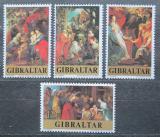 Poštovní známky Gibraltar 1977 Vánoce, umění, Peter Paul Rubens Mi# 367-70