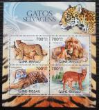 Poštovní známky Guinea-Bissau 2012 Kočkovité šelmy Mi# 6087-90 Kat 11€