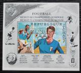Poštovní známka Čad 1971 LOH Mexiko a MS ve fotbale přetisk Mi# Block 21