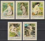 Poštovní známky Fudžajra 1970 Umění, akty, Renoir Mi# 648-52 Kat 6.50€