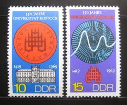 Poštovní známky DDR 1969 Univerzita v Rostocku Mi# 1519-20