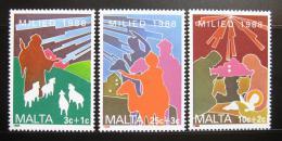 Poštovní známky Malta 1988 Køes�anské motivy, vánoce Mi# 806-08