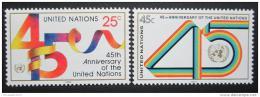 Poštovní známky OSN New York 1990 Výroèí OSN Mi# 602-03