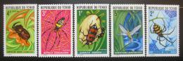 Poštovní známky Èad 1972 Pavouci a hmyz Mi# 510-14 Kat 16€