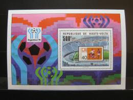 Poštovní známka Horní Volta 1979 MS ve fotbale, pøetisk Mi# Block 52