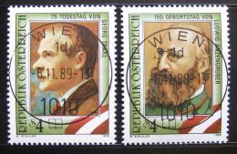Poštovní známka Rakousko 1989 Básníci Mi# 1974-75