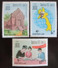 Poštovní známky Laos 1986 Výroèí UNESCO Mi# 962-64