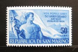Poštovní známka San Marino 1956 Dìlník a vlajka Mi# 545