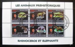 Poštovní známky Pobøeží Slonoviny 2009 Pravìcí sloni a nosorožci