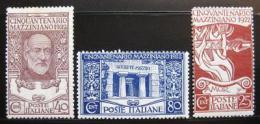 Poštovní známky Itálie 1922 Giuseppe Mazzini Mi# 157-59 Kat 60€