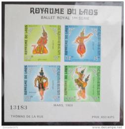 Poštovní známka Laos 1969 Královský balet Mi# Block 47 II Kat 25€