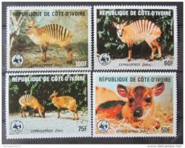 Poštovní známky Pobøeží Slonoviny 1985 Antilopy, WWF Mi# 881-84 Kat 55€