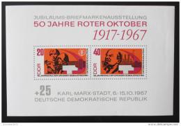 Poštovní známka DDR 1967 VØSR, 50. výroèí Mi# Block 26