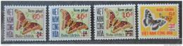 Poštovní známky Vietnam 1974 Motýli výplat. Mi# 21-24 Kat 25€